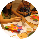 Group of children in an art workshop during the Holiday artistic & cultural Camp at Ocarina School.
