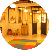 Here is the music room and the yoga and theater space of Ocarina School.